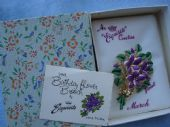 Violet Brooch by Exquisite 1960's in Original Floral Box with Card (SOLD)